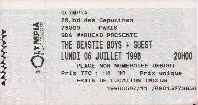 Ticket The Beastie Boys
