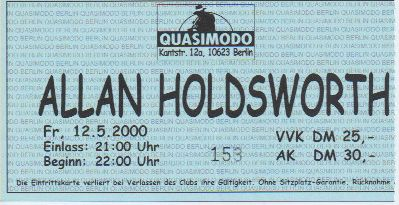 Ticket Allan Holdsworth