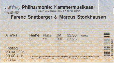 Ticket Ferenc Snétberger