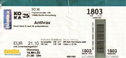 Ticket Anthrax