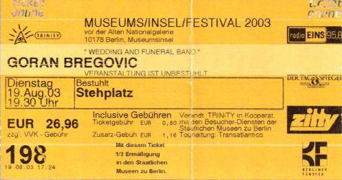 Ticket Goran Bregovic
