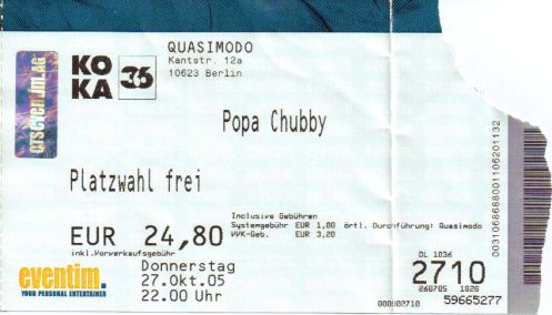 Ticket Popa Chubby