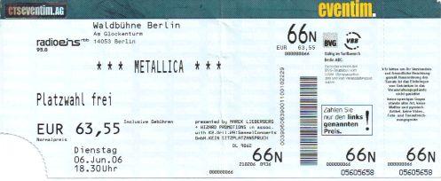 Ticket Metallica