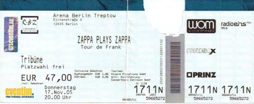 Ticket Zappa Plays Zappa
