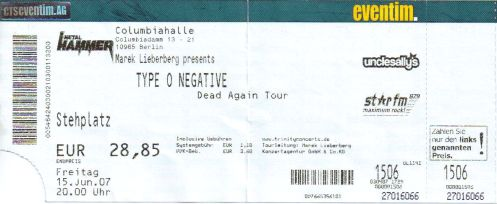 Ticket Type O Negative