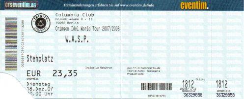 Ticket W.A.S.P.