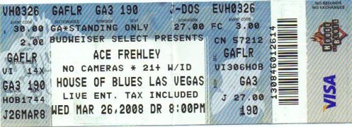 Ticket Ace Frehley