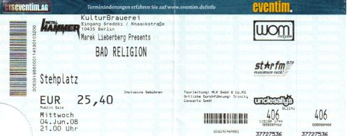 Ticket Bad Religion