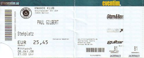 Ticket Paul Gilbert