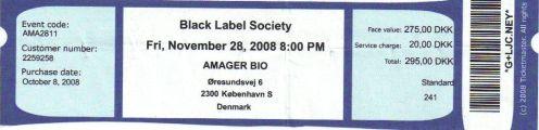 Ticket Black Label Society