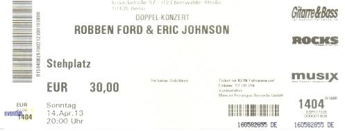 Robben Ford & Eric Johnson Ticket