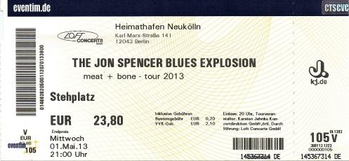 Ticket The Jon Spencer Blues Explosion