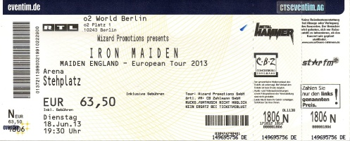 Ticket Iron Maiden