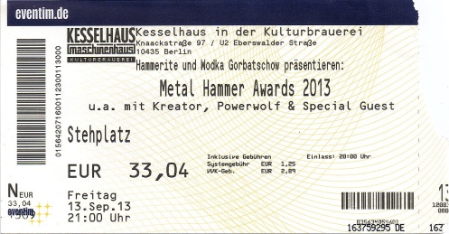 Ticket Metal Hammer Awards 2013