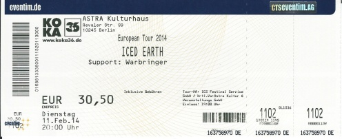 Ticket Iced Earth