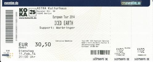 Ticket Iced Earth