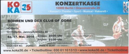 Ticket Bohren und der Club of Gore
