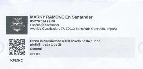 Ticket Marky Ramone