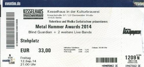 Ticket Metal Hammer Awards 2014