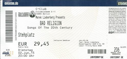 Ticket Bad Religion