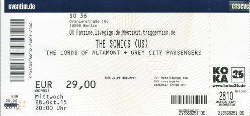 Ticket The Sonics