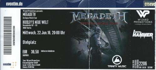 Ticket Megadeth