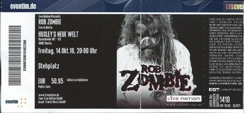 Ticket Rob Zombie