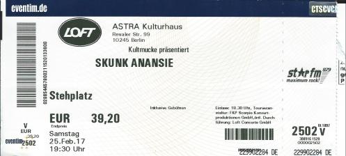 Ticket Skunk Anansie